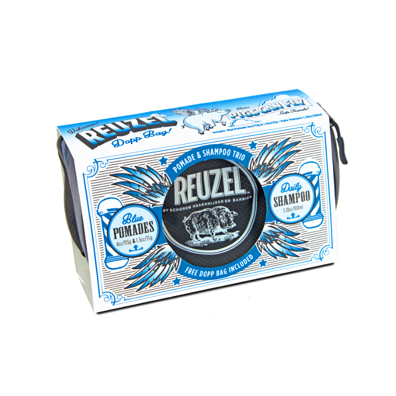 Tuotekuva: Reuzel Blue Dopp Bag -lahjasetti (113g + 35g + Daily Shampoo 100ml + toilettilaukku)