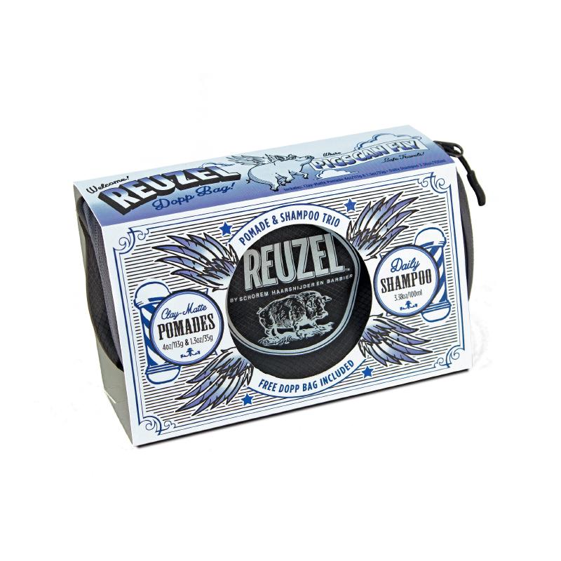 Tuotekuva: Reuzel Clay Dopp Bag -lahjasetti (113g + 35g + Daily Shampoo 100ml + toilettilaukku)