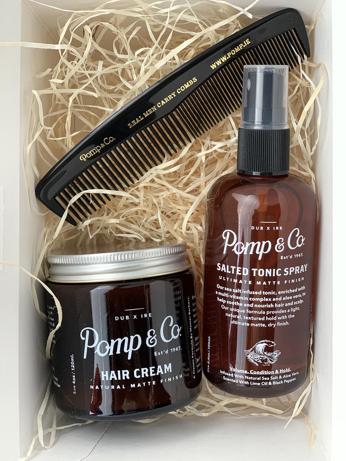 Tuotekuva: Pomp&Co. -lahjasetti Hair Cream & Tonic Spray suolasuihke
