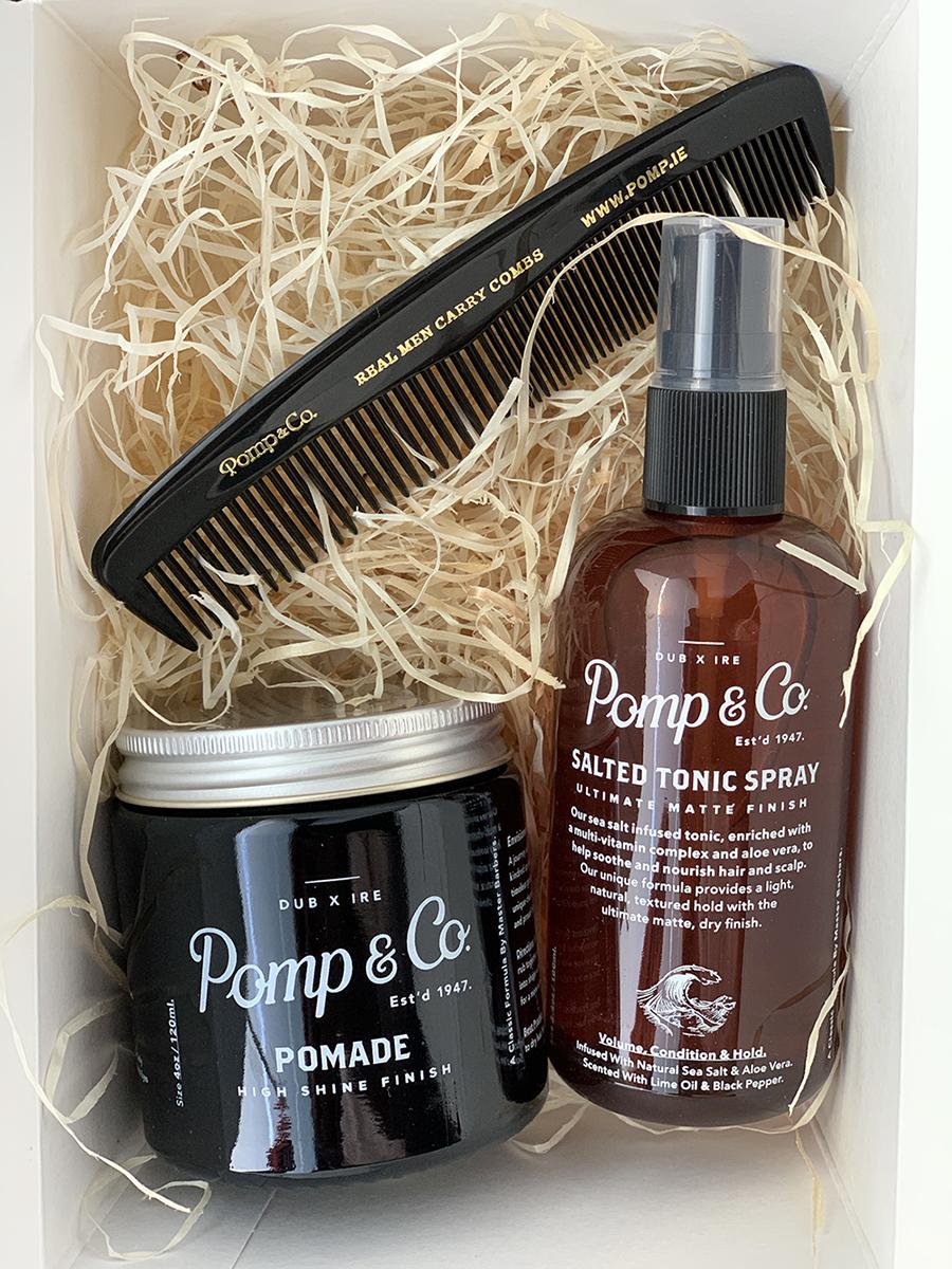 Tuotekuva: Pomp&Co. -lahjasetti Pomade & Tonic Spray suolasuihke