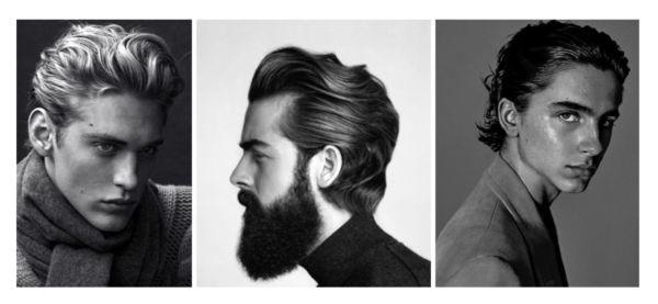 kolme kuvaa miesten pidemmistä hiusmalleista