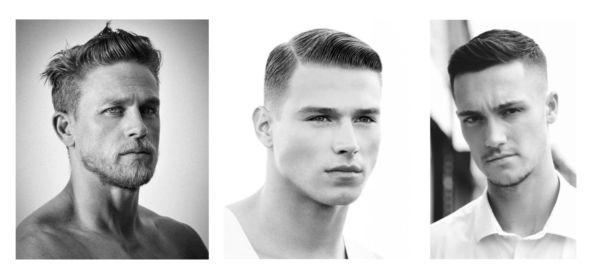 kolme kuvaa miesten lyhyistä ja klassisista hiustyyleistä