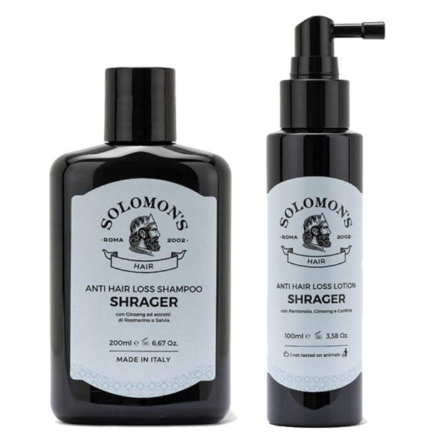 Tuotekuva: Solomon's Anti Hair Loss shampoo ja hoitoneste aloitussetti oheneville hiuksille
