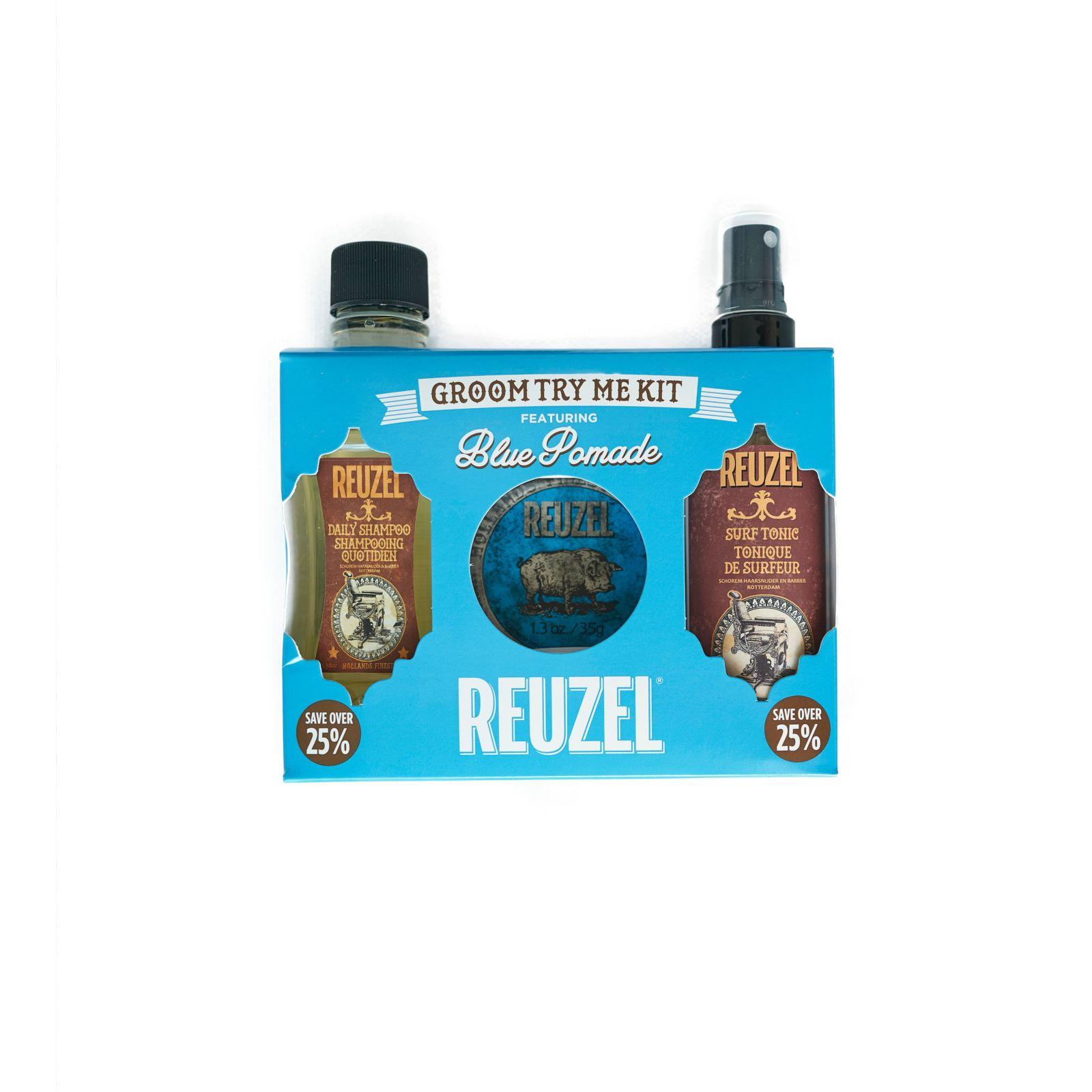 Tuotekuva: Reuzel Try Me Kit -Daily Shampoo, Blue High Sheen Pomade & Surf Tonic
