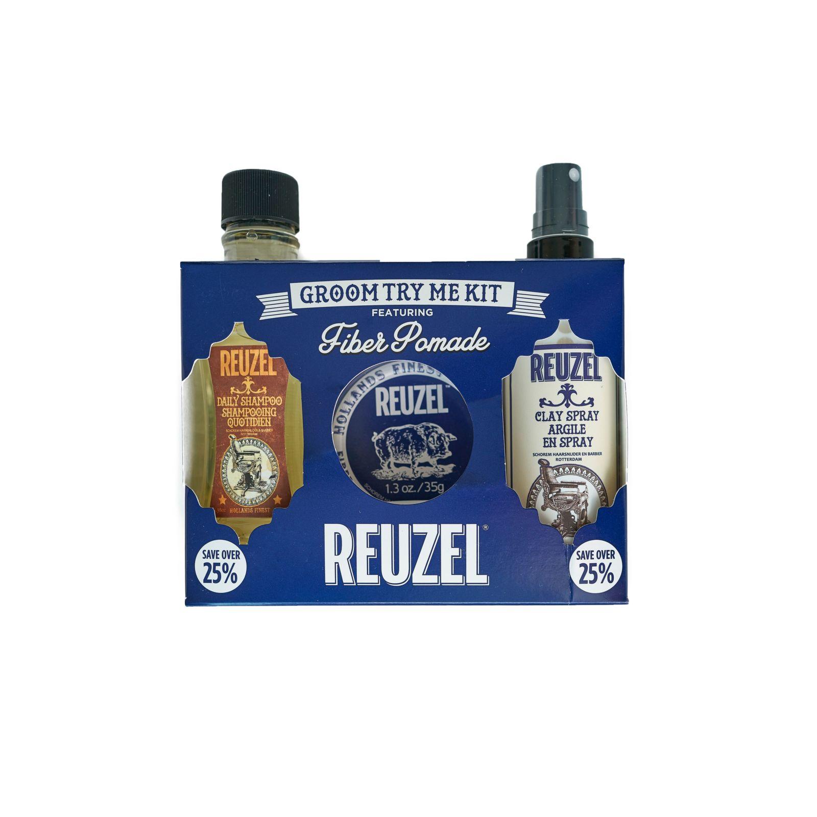 Tuotekuva: Reuzel Try Me Kit -Daily Shampoo, Fiber Pomade & Clay Spray