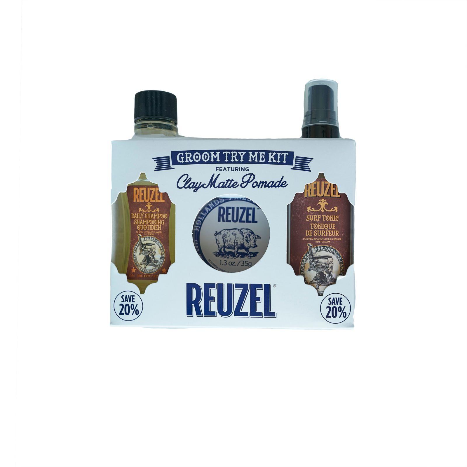 Tuotekuva: Reuzel Try Me Kit -Daily Shampoo, Clay Matte Pomade & Surf Tonic