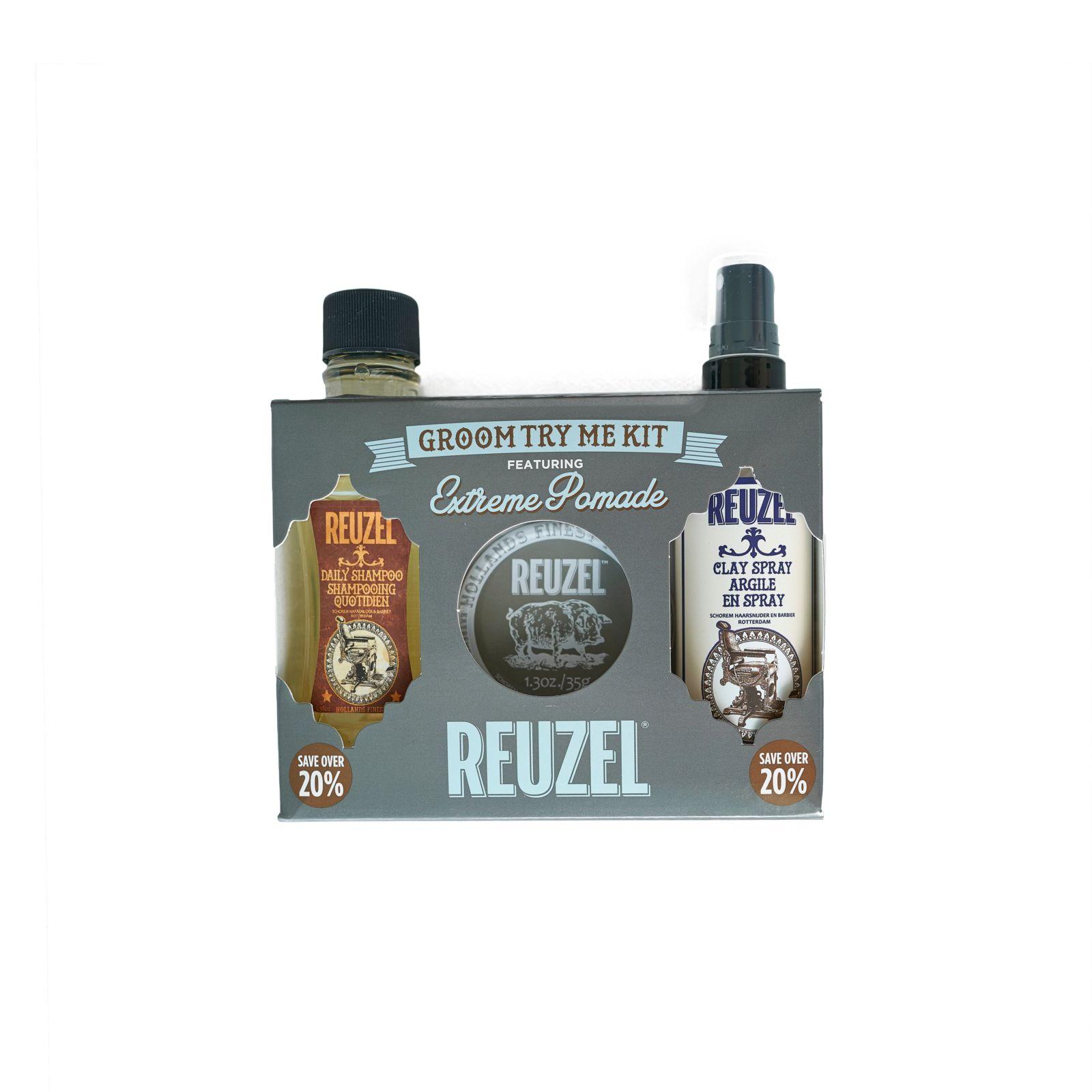 Tuotekuva: Reuzel Try Me Kit -Daily Shampoo, Extreme Hold Pomade & Clay Spray